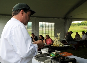Verrill Farm chef Kevin Carey does a cooking demonstration featuring Verrill Farm asparagus
