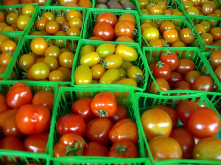 Our cherry tomatoes, boxed and ready to take home and enjoy.
