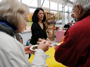 Catherine Walthers speaks with customers at Saturday's event.