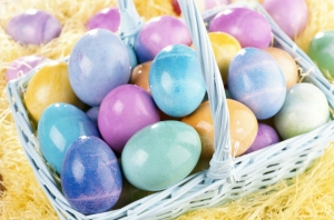 basket of pastel easter eggs