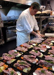 Verrill Farm Chef Kevin Carey packages traditional Irish boiled dinners.